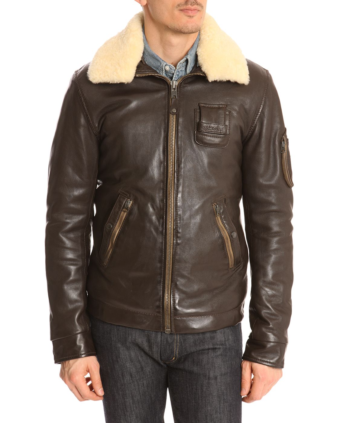 Schott NYC - Brown Flight Jacket with Removable Sheepskin Collar ...