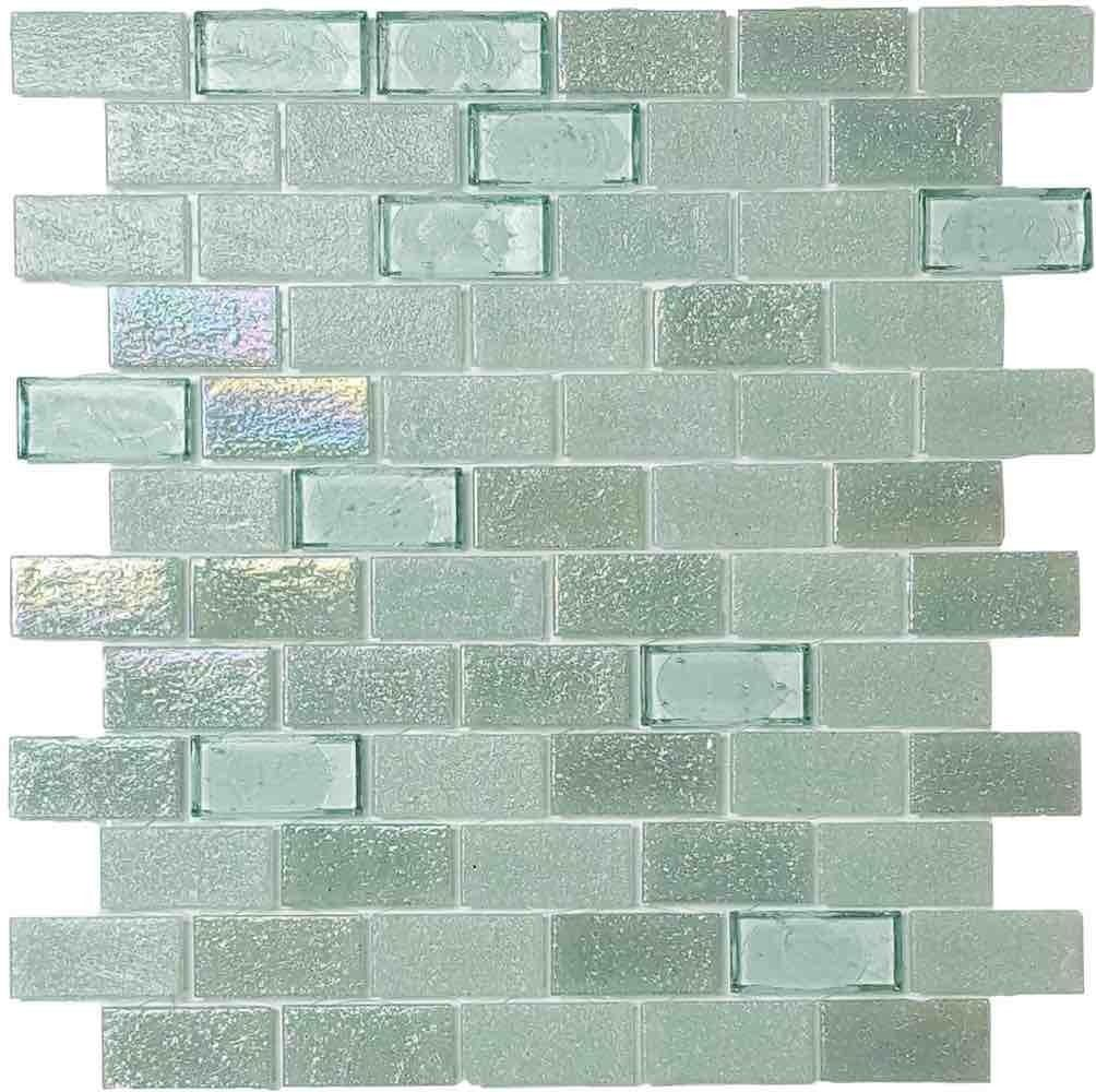 Iridescent Recycled Glass Tile Seaweed 1 X 2 Recycled Glass Tile Glass Tile Recycled Glass