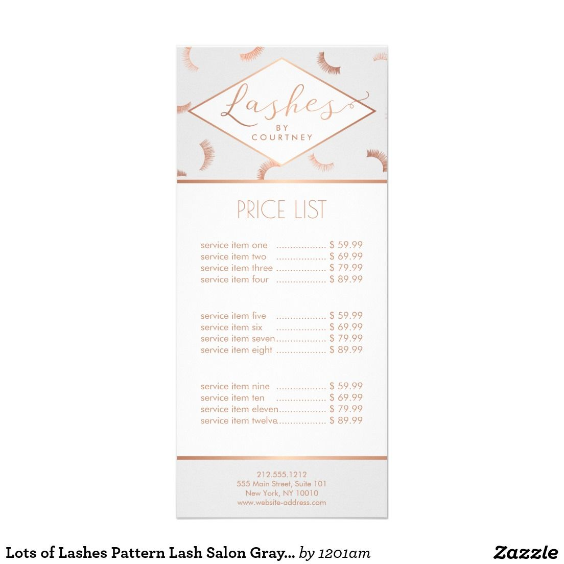 Lash Extensions Salon GrayRose Gold Customizable Rack Card Price