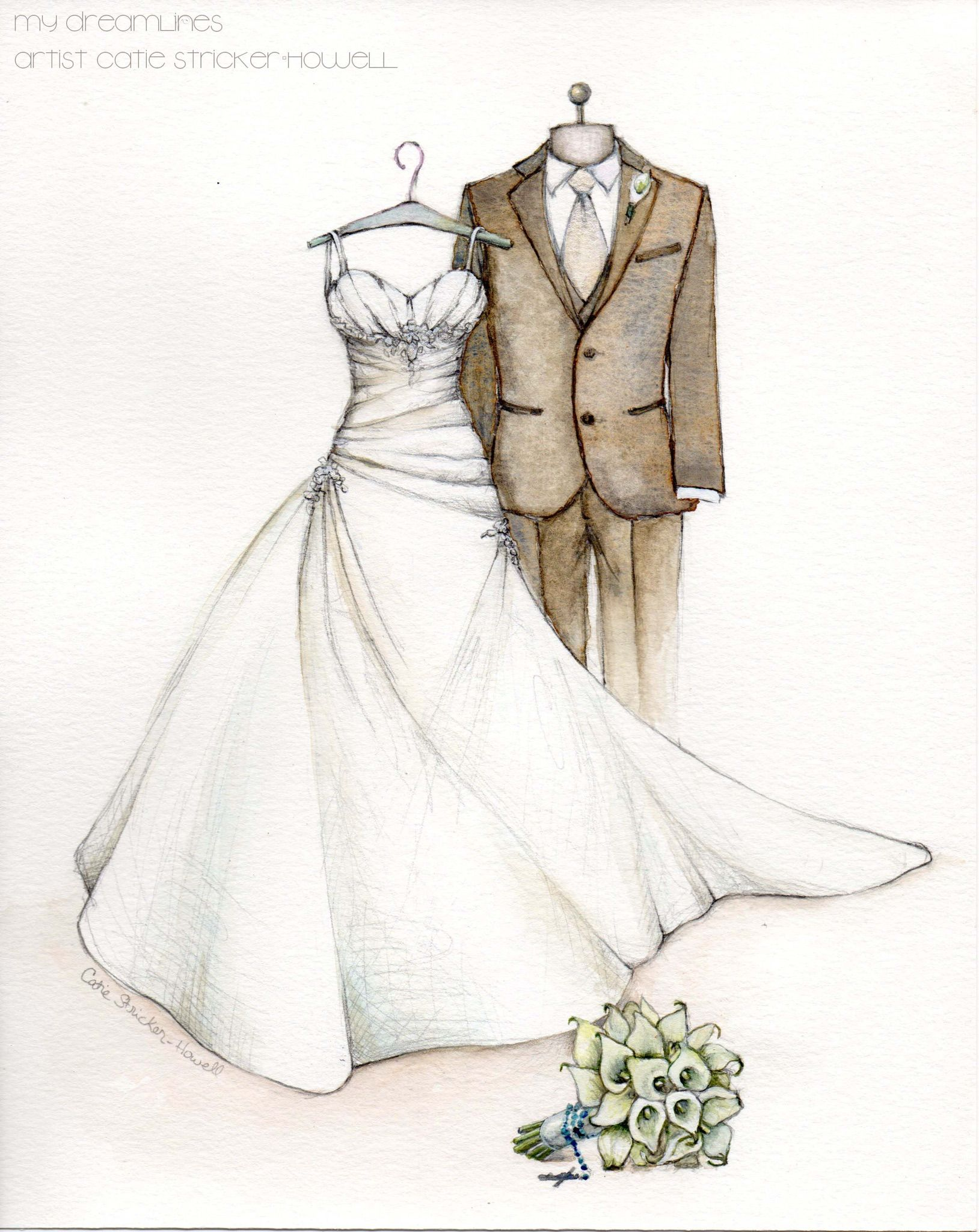 Wedding Dress Sketch The Best First Anniversary Gift Ever