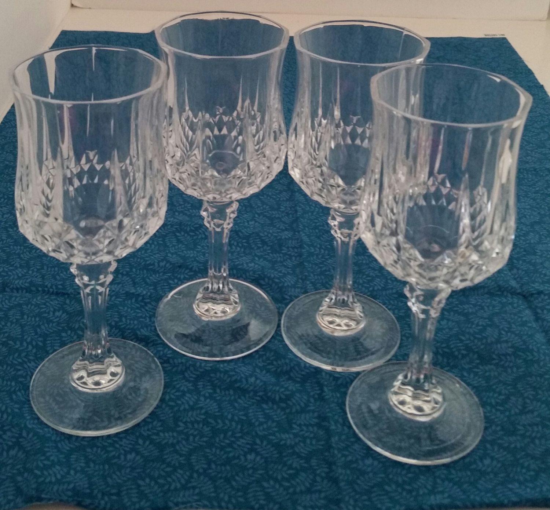 Cristal D Arques Longchamp Wine Glasses Crystal Wine Etsy Wedding Wine Glasses Crystal Wine Glasses Wine Glasses