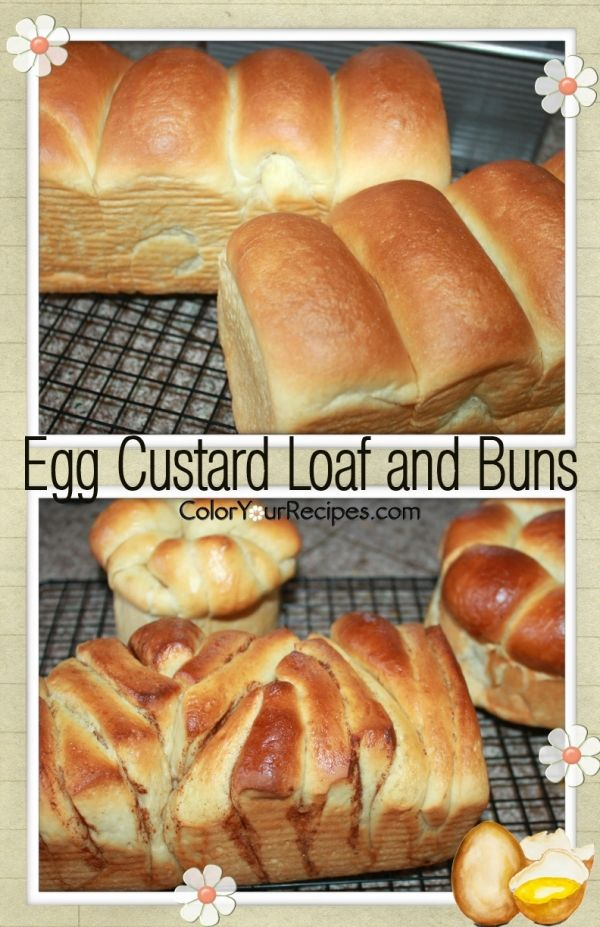 Simple Egg Custard Bread and Buns ~ Color Your Recipes