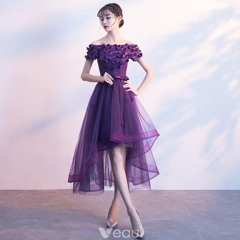 Chic / Beautiful Purple Cocktail Dresses 2017 A-Line / Princess Bow ...
