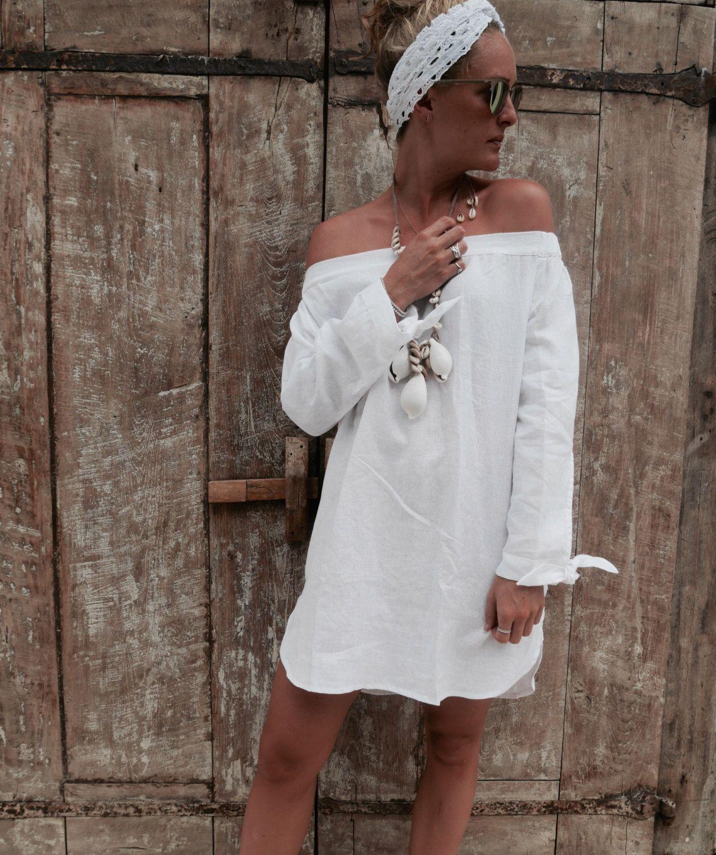 a9cc942cb5 The Ari Dress - White Linen Off Shoulder Dress