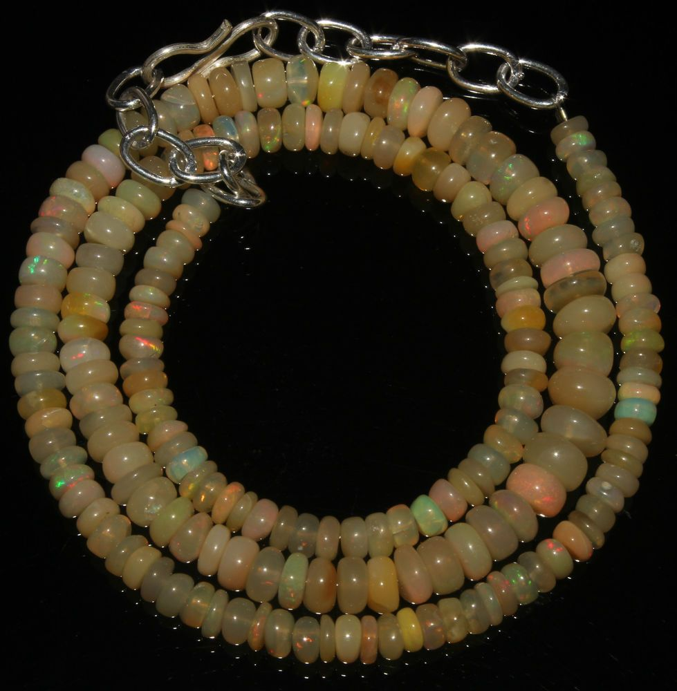 """46Crts 1 Necklace 4to6mm 16"""" Beads Natural Ethiopian Welo Fire  Opal  AA++55615"""