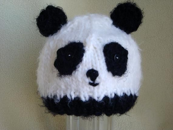 Panda Bear Hat, Panda Beanie, Baby Panda Hat, Toddler Panda Hat - Hand Knit &Crochet Animal Beanie - Photo Prop #babypandabears