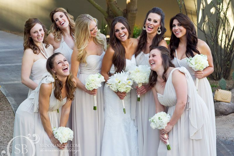 The Bridesmaids laugh and pose before the wedding ceremony at the Sanctuary on Camelback