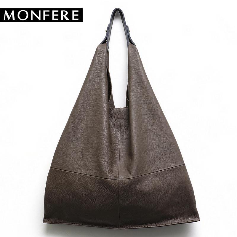 5c46bd290e MONFERE Casual Women Hobo Bag Soft Genuine Cow Leather Fashion Shoulder Bags