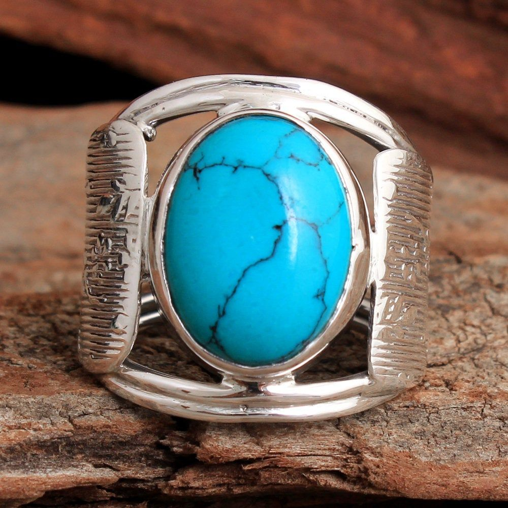 ar4022 Double Turquoise Gemstone Stylish Ring 925 Sterling Silver Jewelry Handmade Designer Ring Size US 7.25 Jewelry for Gift