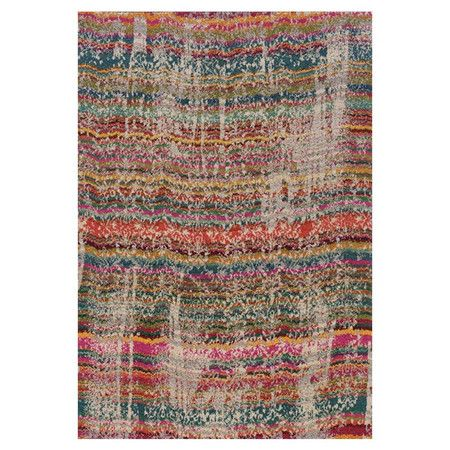 Woven rug with distressed multicolor striping.  Product: RugConstruction Material: PolypropyleneColo...