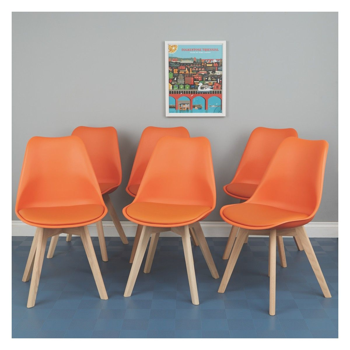 JERRY Set of 6 orange dining chairs Chairs Pinterest Set of
