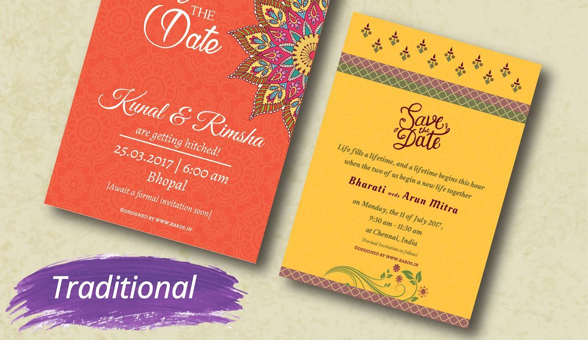 Vibrant and Traditional save-the-date cards for a destination ...