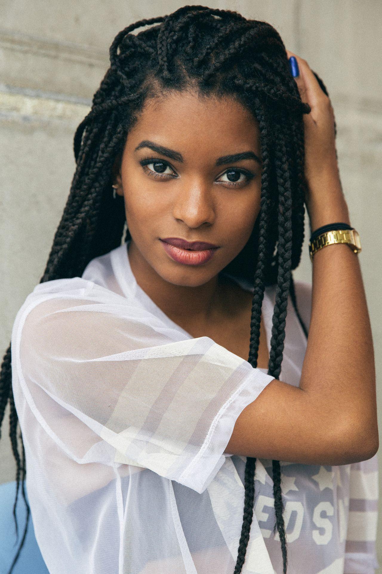 Black girl box braids afro hairstyle hair black womens