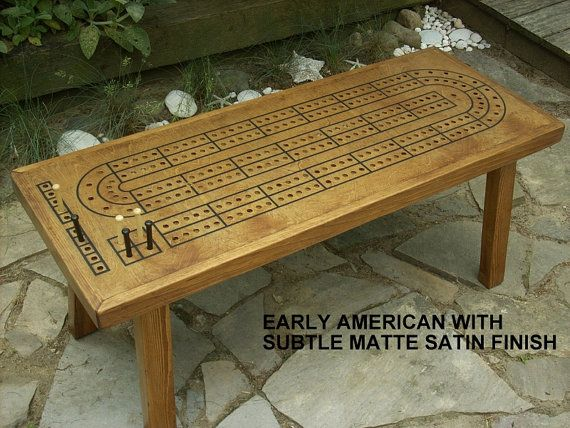 game table, cribbage board coffee table, early american minwax