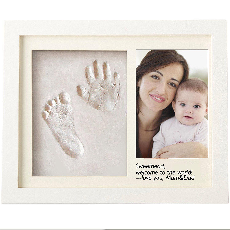Baby Handprint Footprint Frame Shower Gift Diy Imprint Casting Photo