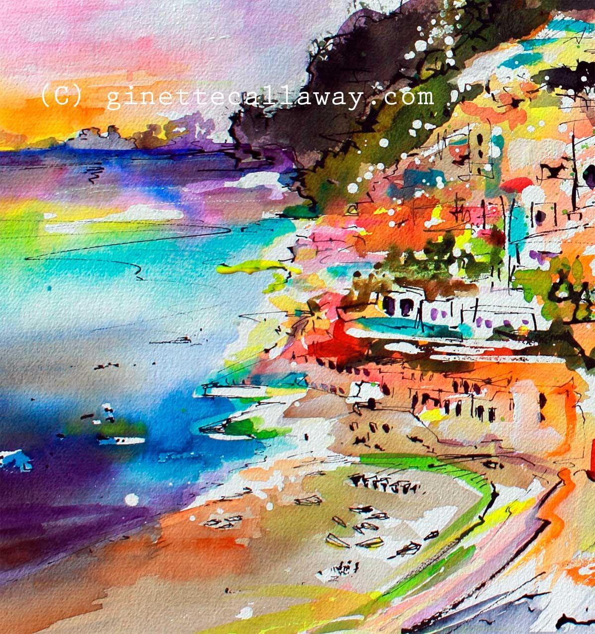 Shop Watercolors And Oil Paintings Amalfi Coast Positano