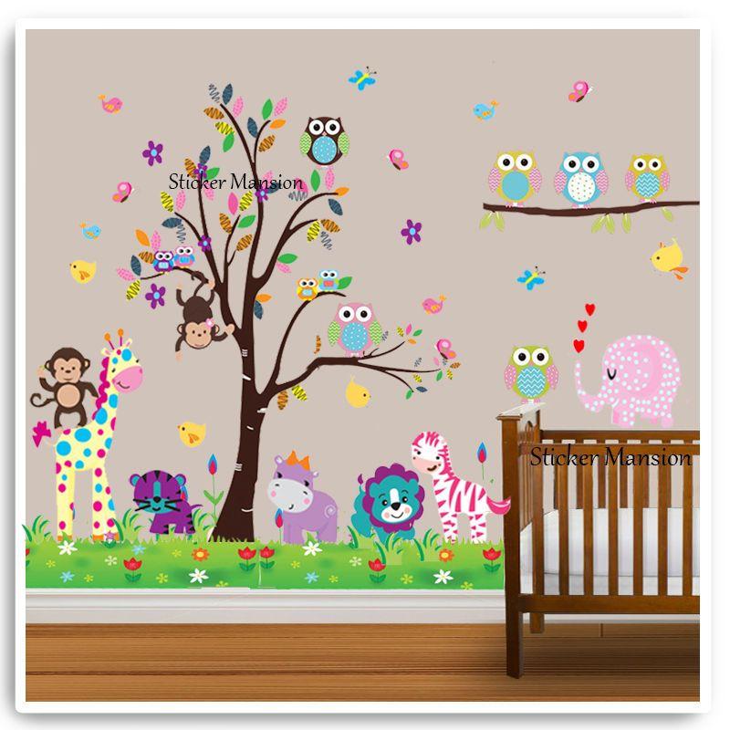Animal Wall Stickers Monkey Tree Jungle Zoo Nursery Baby Kids Room Decal Art 1 X
