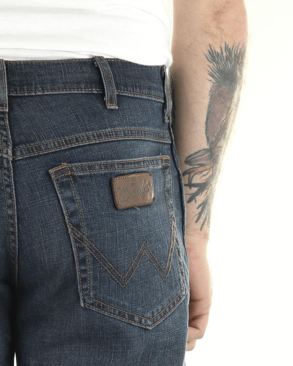 Wrangler Mens Designer Texas Stretch Regular Fit Straight Leg Black Back
