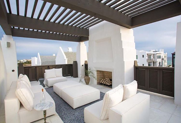 Fireplace white decor coastal design rooftop terrace in alys beach