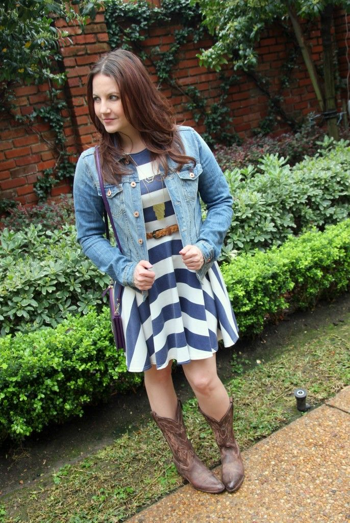 What I Wore to the Houston Rodeo - Asos striped dress, denim jacket and cowboy boots by @karenzta