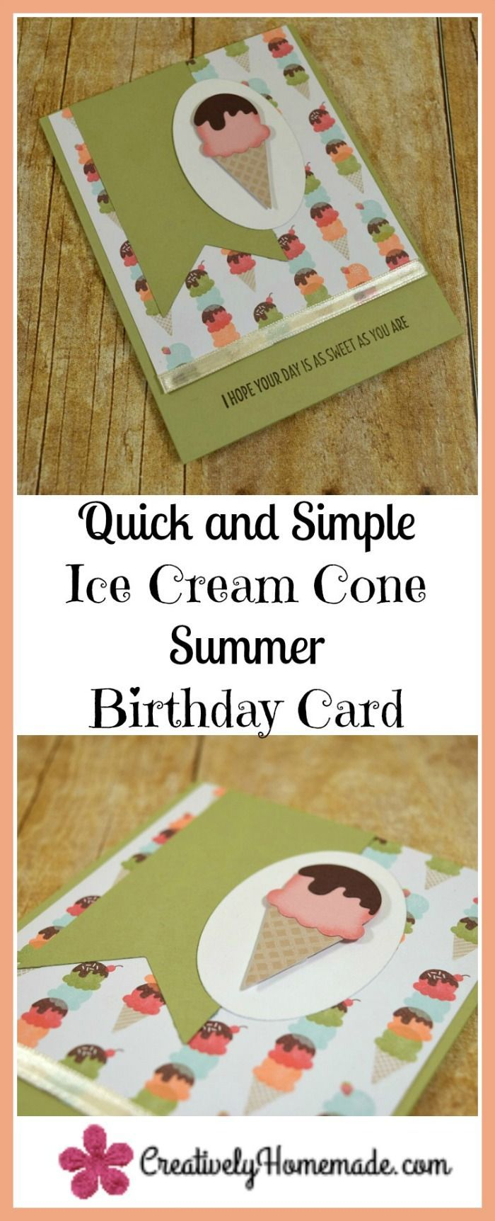 Cute Ice Cream Cone Summer Birthday Cards Homemade Birthday Cards