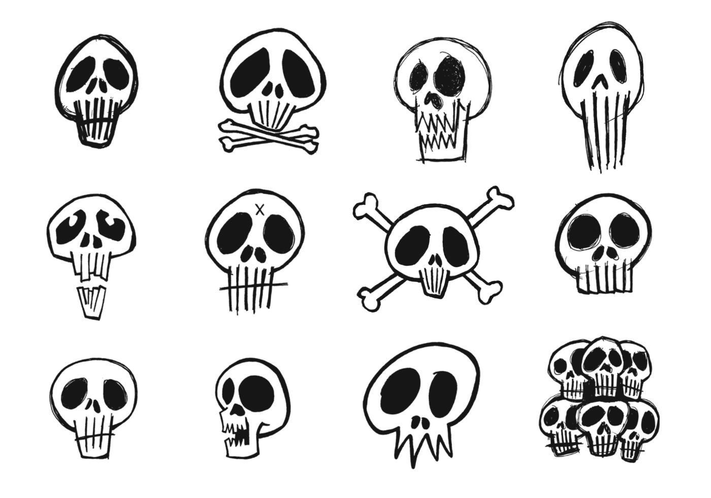 Sketchy Skull Vector Pack Bone Drawing Graffiti Drawing Skull Illustration