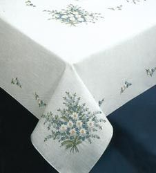 Forget Me Not Stamped Oblong Tablecloth 58inX104in