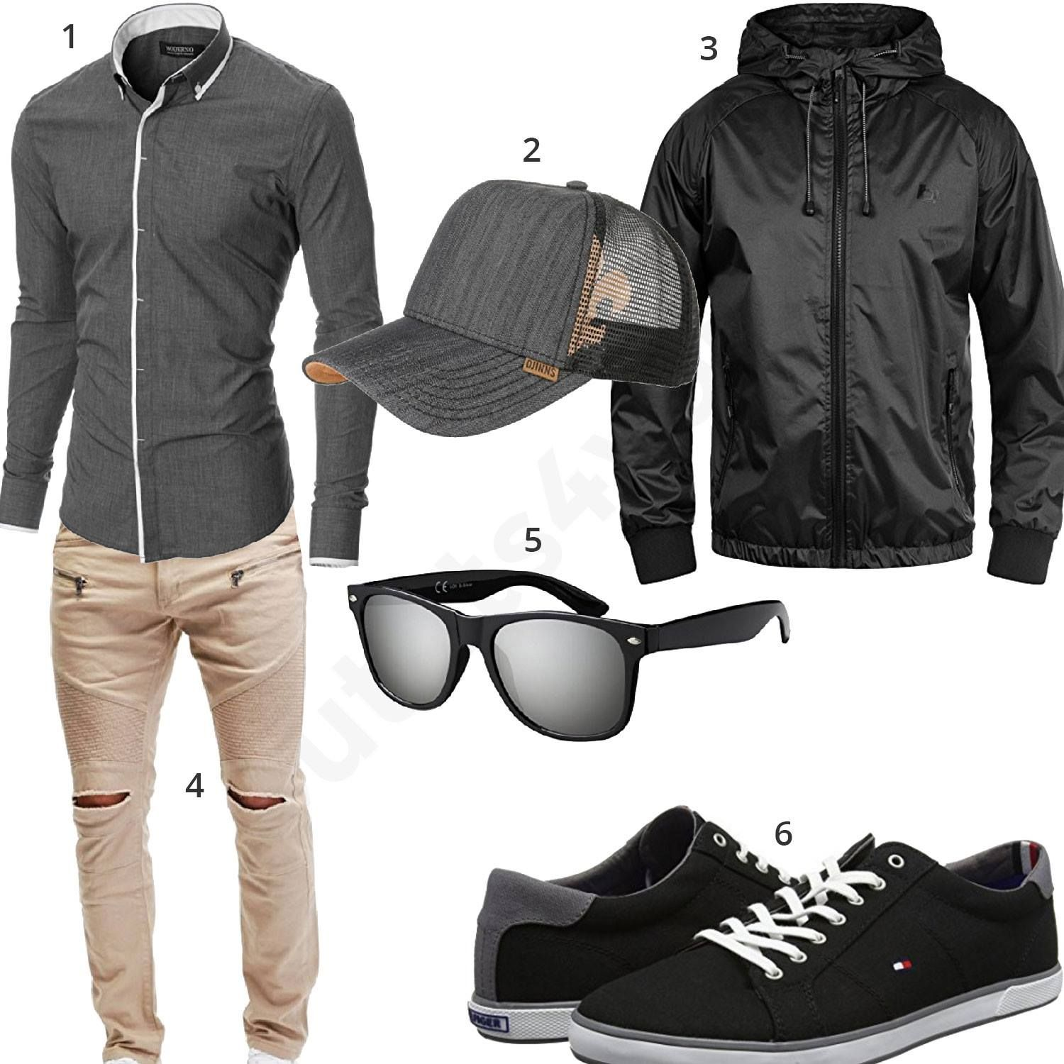 graues herren outfit mit djinns cap sonnenbrille schwarzem blend windbreaker tommy hilfiger. Black Bedroom Furniture Sets. Home Design Ideas