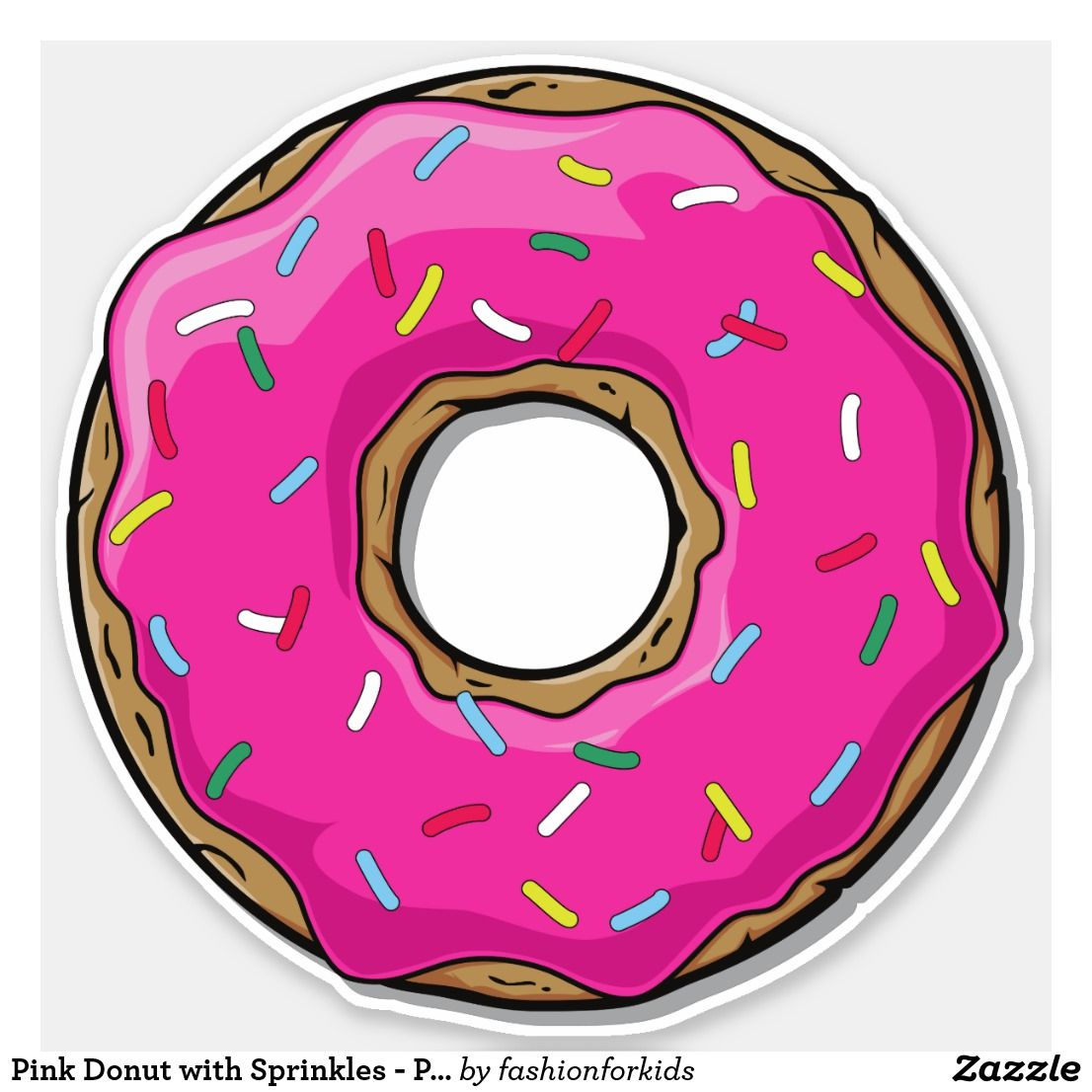 Pink Donut With Sprinkles Pink Blue Yellow Sticker Zazzle Com Donut Care Donut Cartoon Pink Donuts