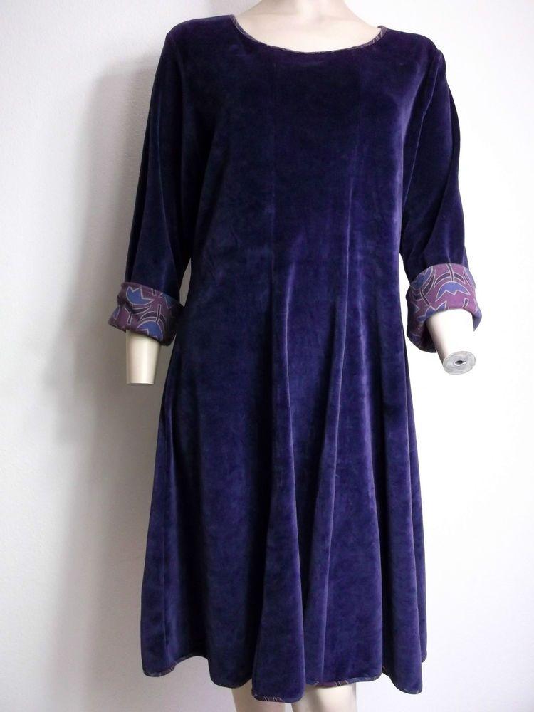 f6e3f31eaa8 GUDRUN SJODEN Velvet DRESS Size L Large UK 12 - 14 Purple Eco #GudrunSjoden  #Tunic #Casual