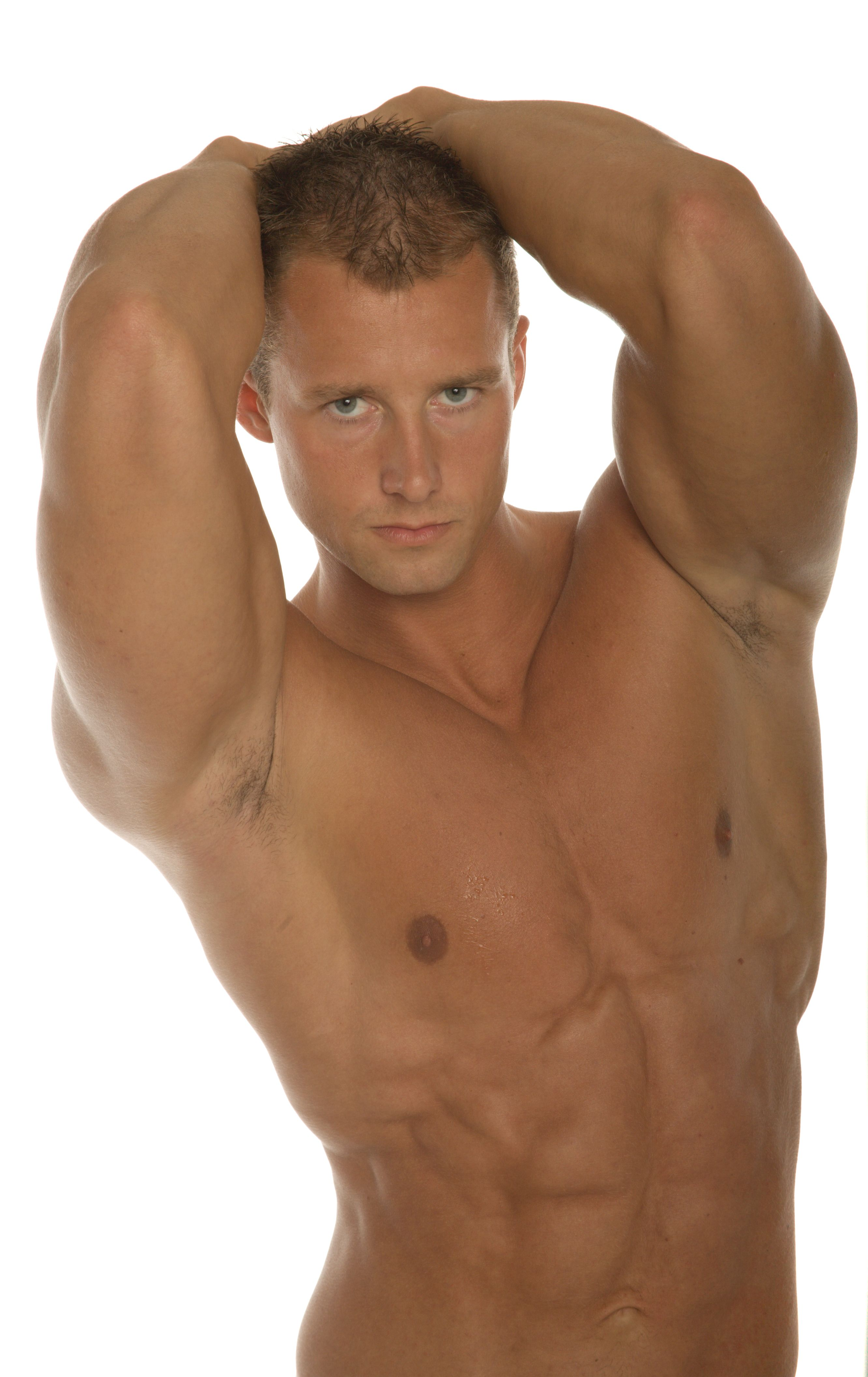 perfect male body. muscled torso and arms. brutal face. a little bit ...