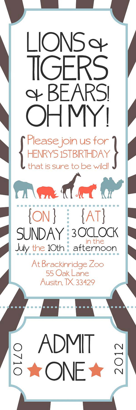 Zoo Ticket Birthday Party Invitation by withlovegreetings on Etsy ...
