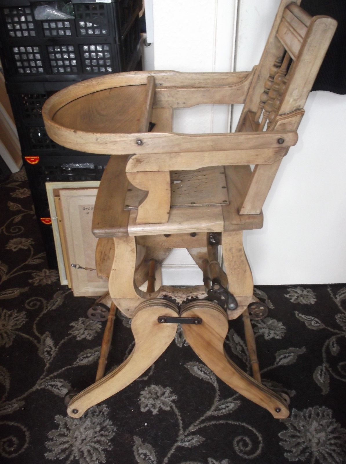 ANTIQUE NATURAL PINE CHILDS METAMORPHIC HIGH CHAIR
