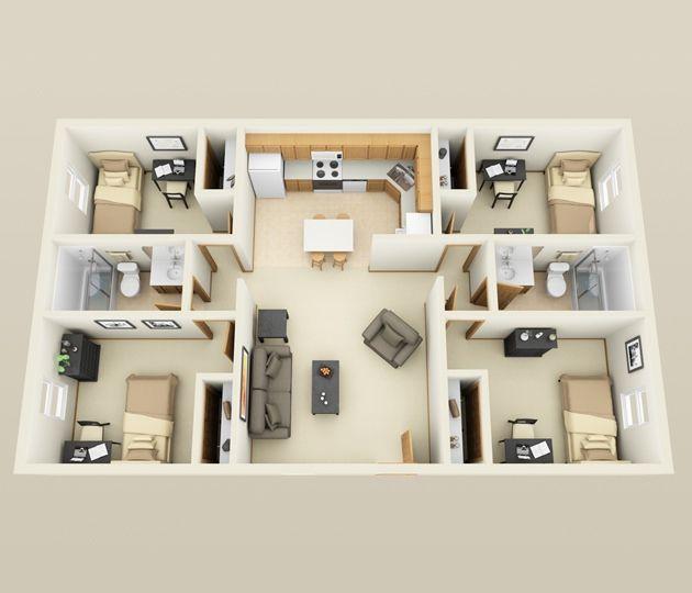 4 Bedroom Apartment Floor Plans: Plano-de-casa-con-cocina-amplia-34 En 2019