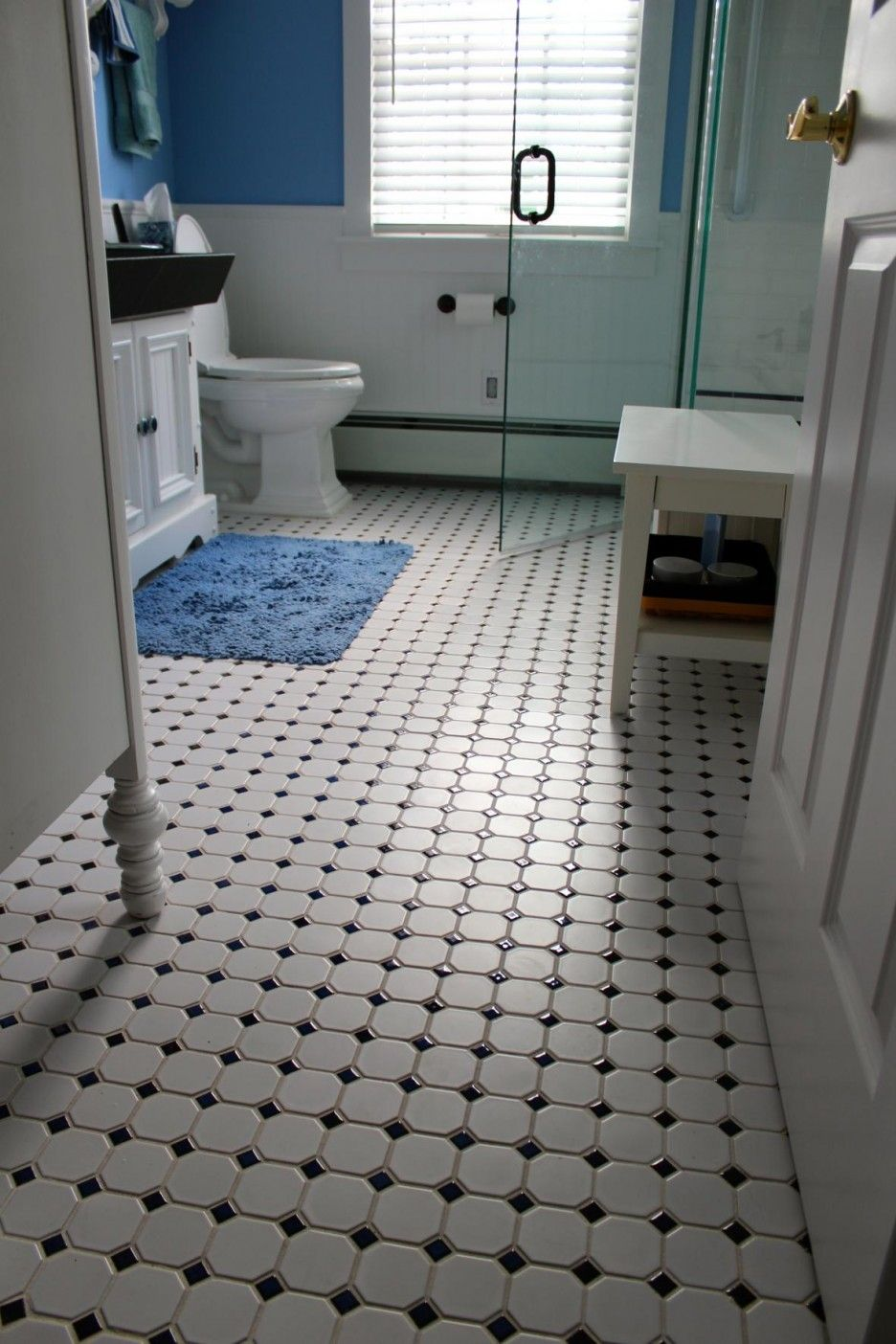 Bathroom White Ceramic Dotted Black Floors With Wooden Vanities