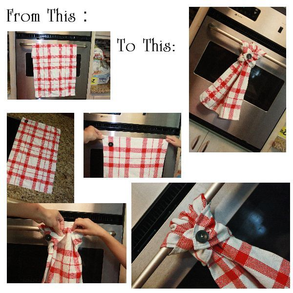 Regular Kitchen Towel On One End Sew A Button To One Corner And