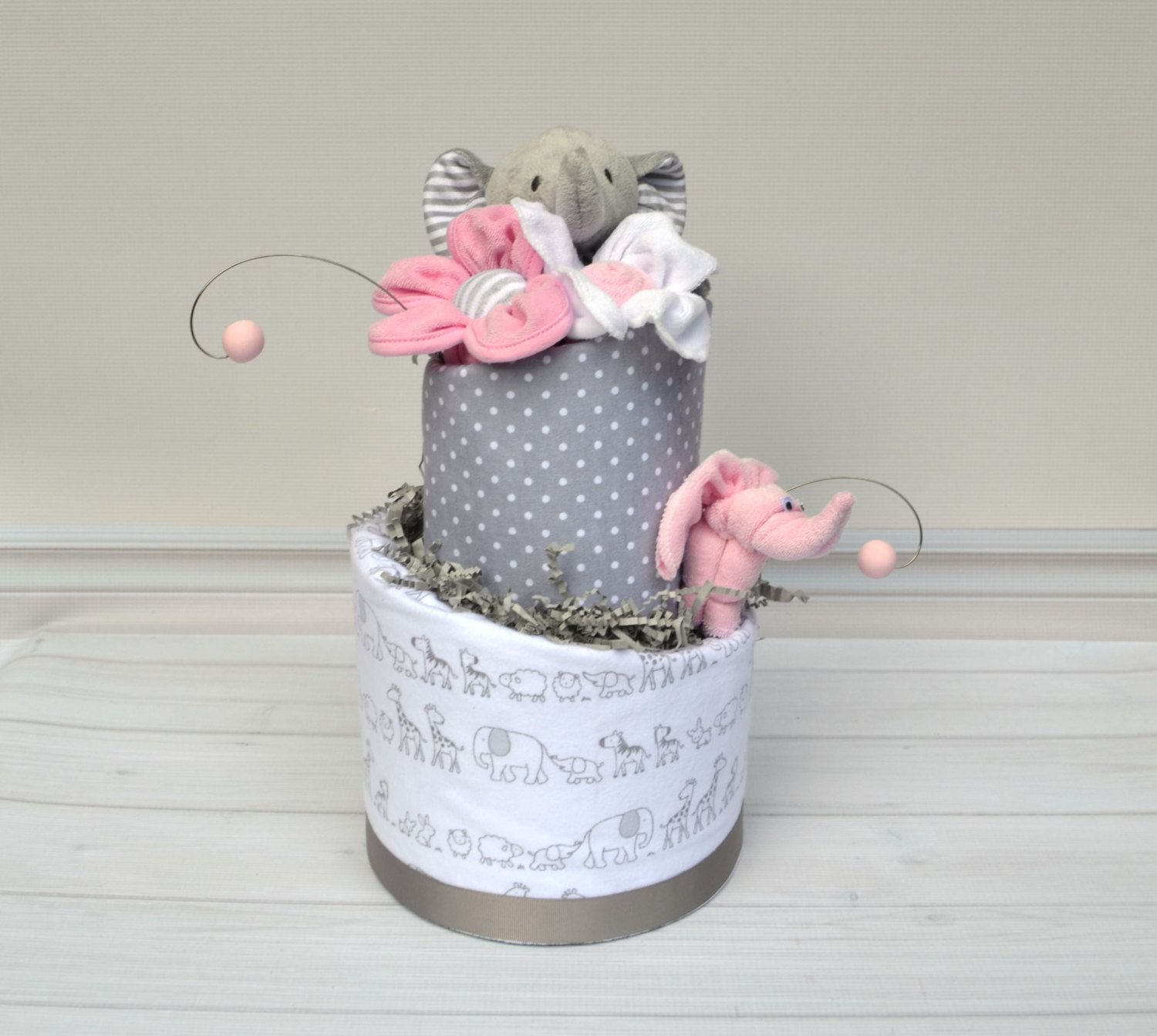 Girl Elephant Diaper Cake Pink Elephant Baby Shower Pink and