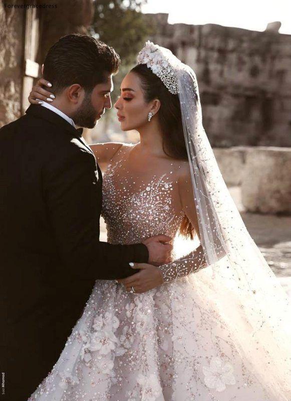 2019 Princess Luxury Wedding Dress African Arabic Dubai Long Sleeve Beading Church Formal Bride Bridal Gown Plus Size – Banana Stocks