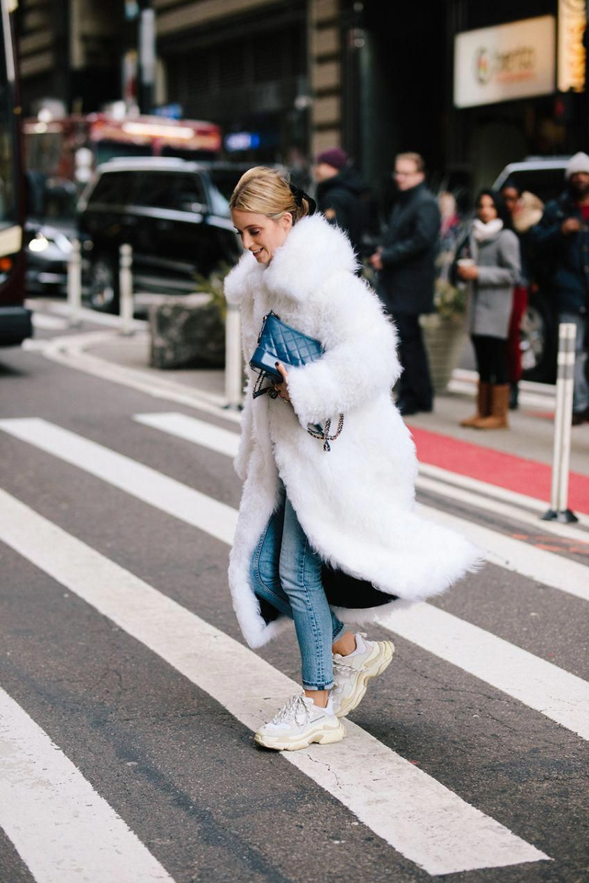 oversized coat, Balenciaga sneakers, faux fur bag | Sneaker