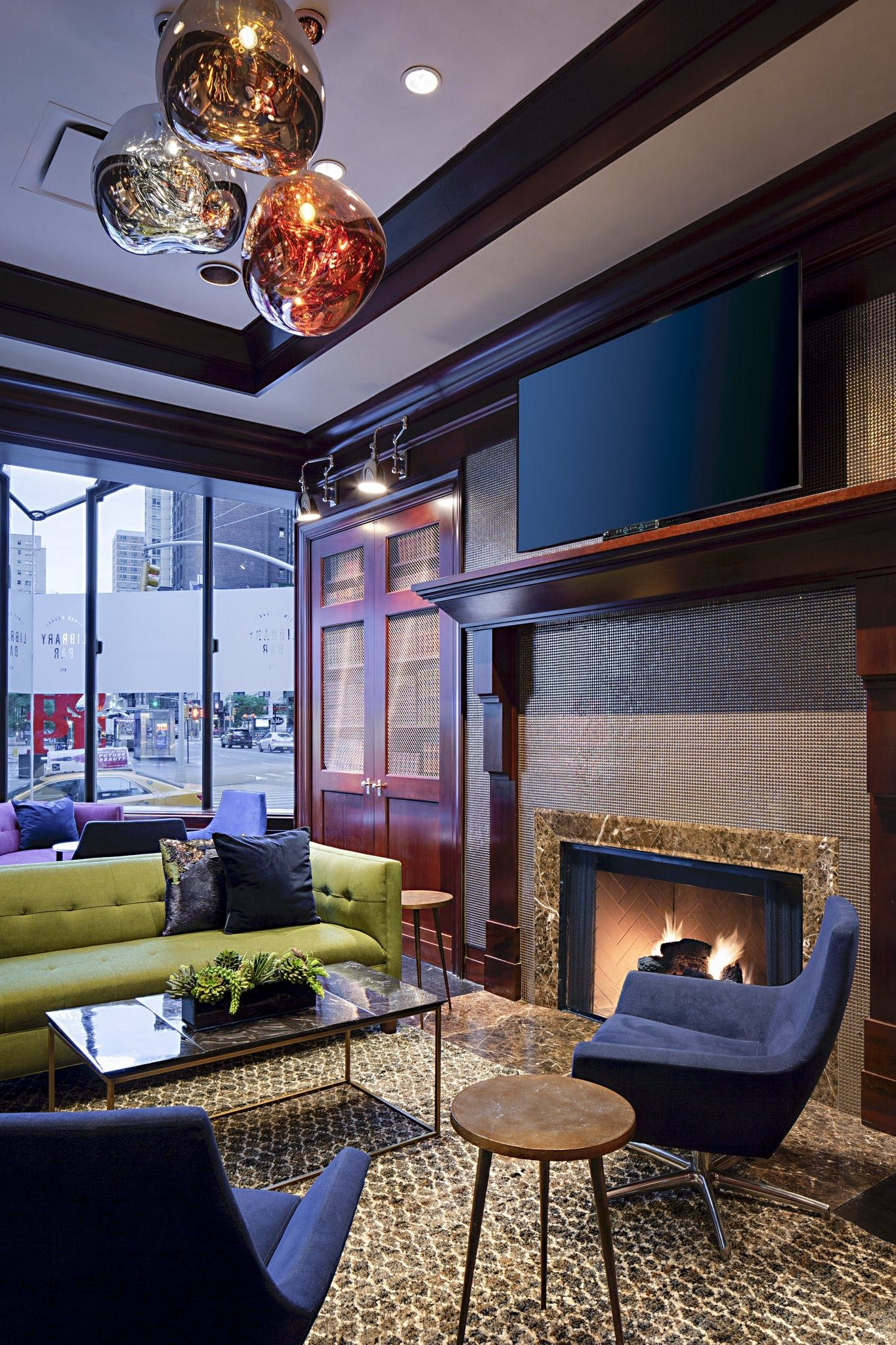 Library Bar Seating Area Fireplace Suites at Sheraton