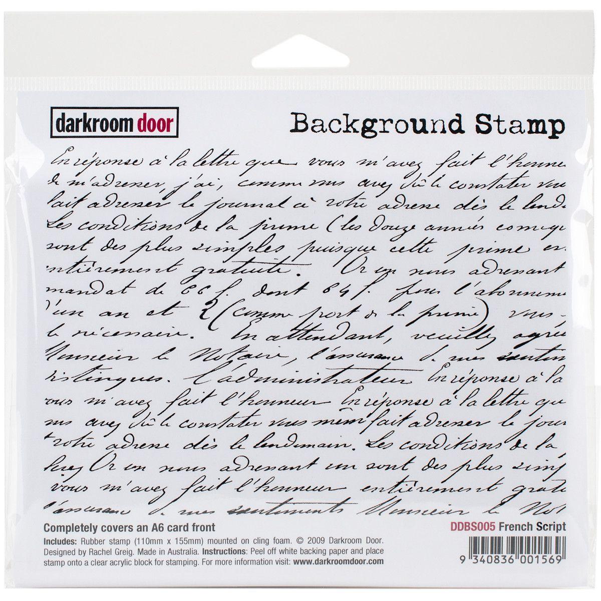 """Darkroom Door Background Cling Stamp 4/""""X6/""""-Elegant Script"""