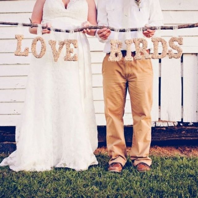 Rustic wedding love birds sign made out of bird seed