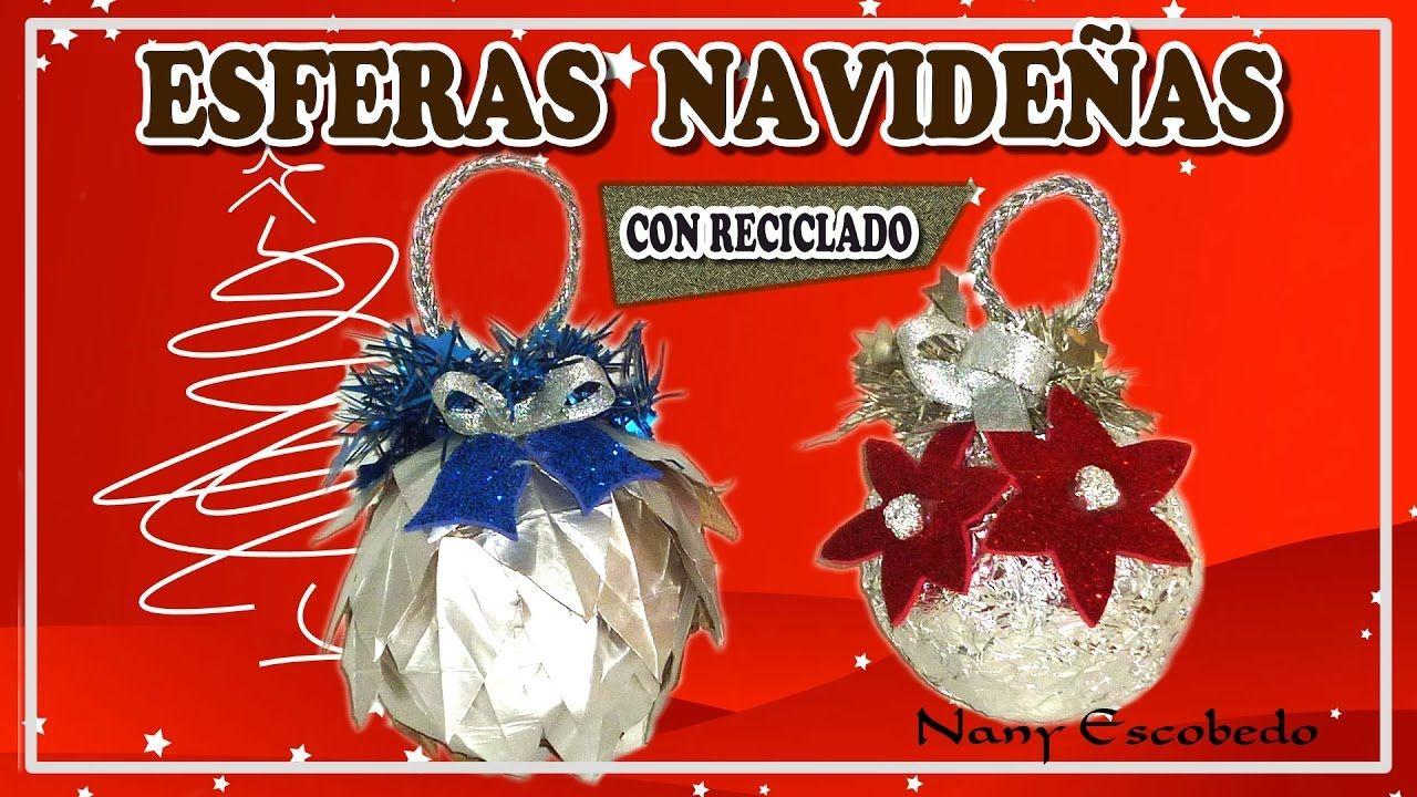 Esferas navide as con materiales reciclados manualidades for Materiales para manualidades navidenas
