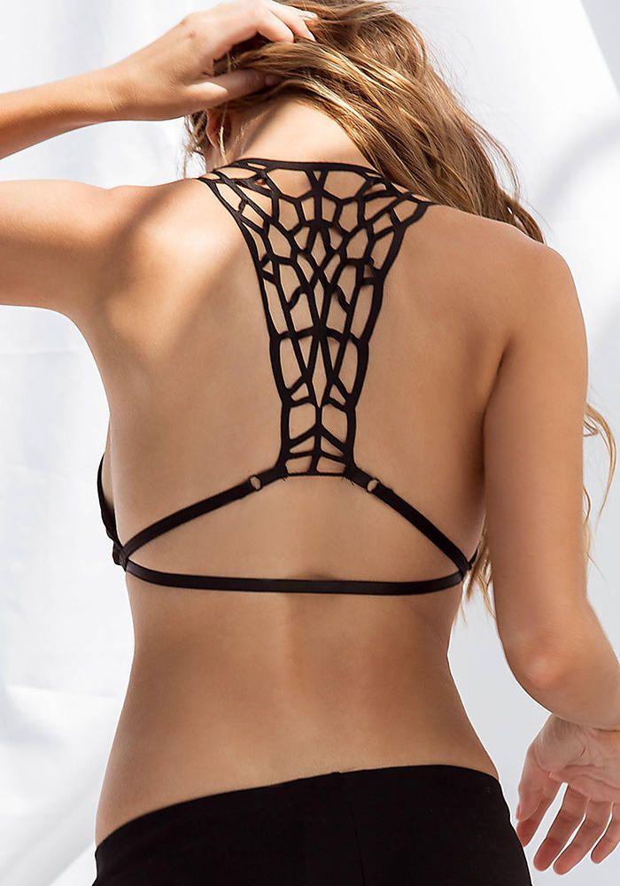 Black Caged Double Strap Bra - Lingerie - Clothes