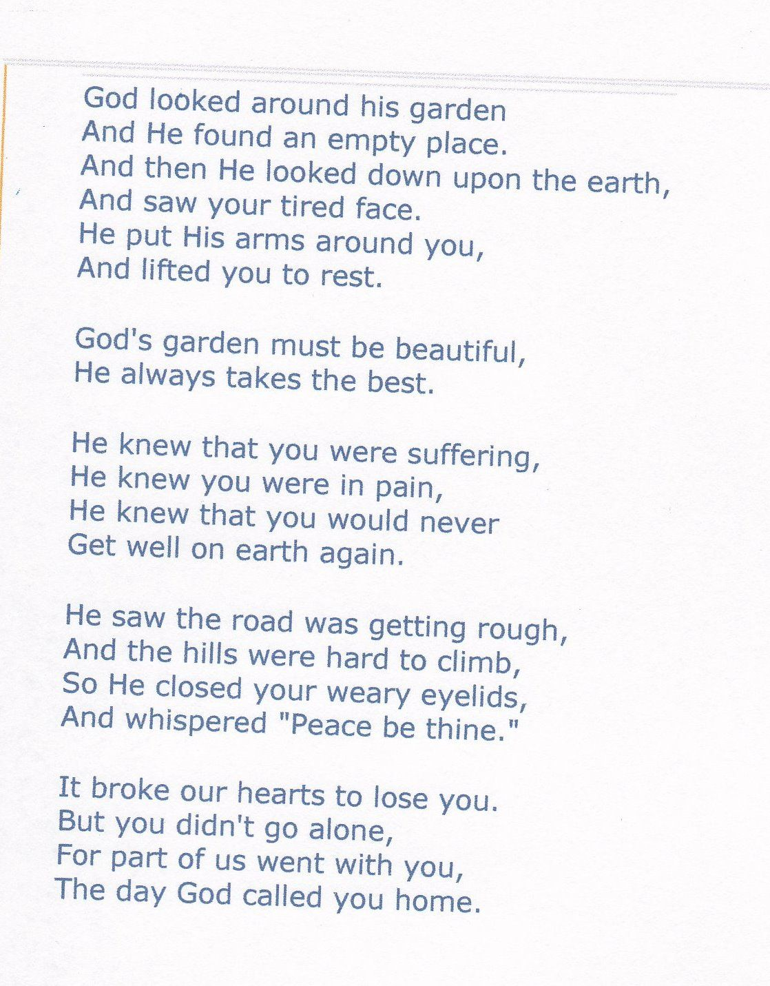Missing Mom This is actually the poem I picked to have on my Miss My MomLove You