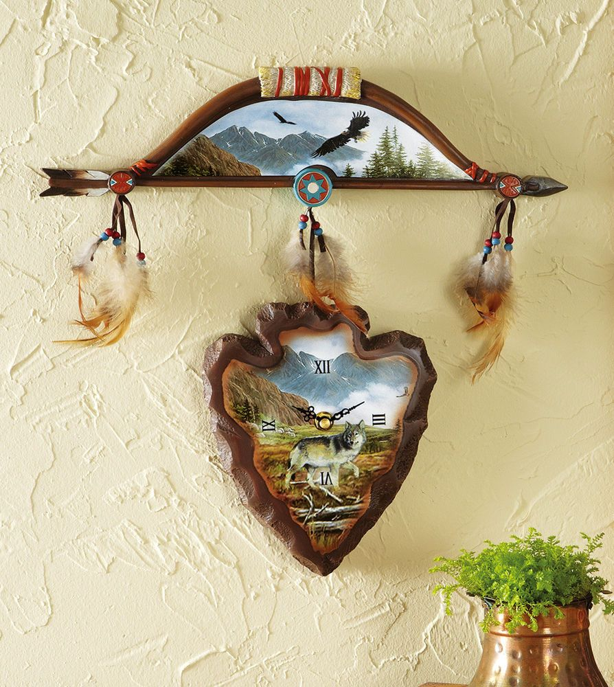 Bow Arrowhead Shaped Southwest Wall Clock Home Decor Accent NEW ...