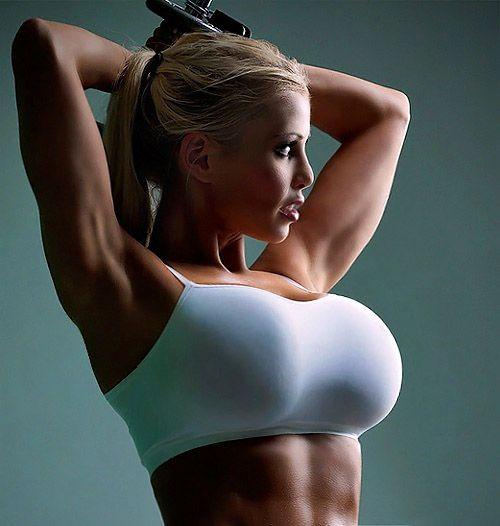 Beautiful Busty Fitness Girl In Grey