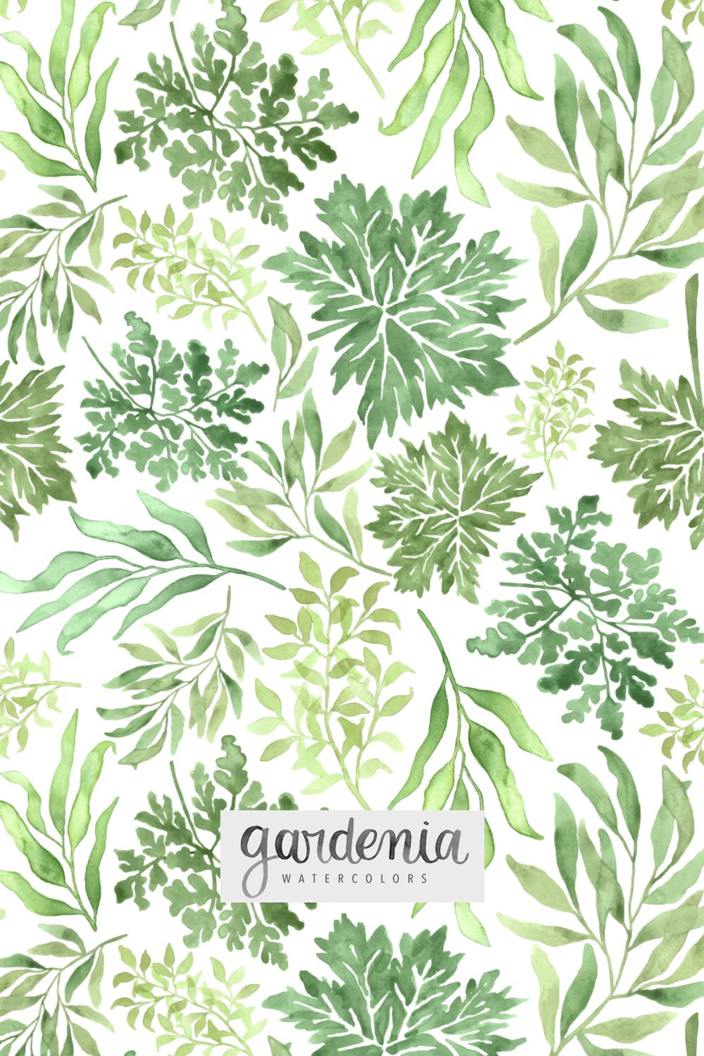 Gardenia Watercolors Surface Designer Greenery Repeating Pattern
