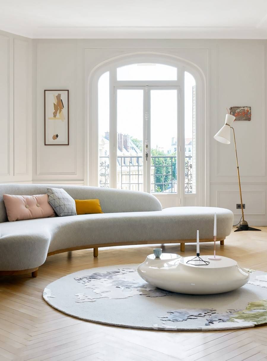 This Trend Is The Sweet Spot Between Sofas And Sectionals In 2019 Rugs For Seema Kumar Couch Design Sofa Design Living Room Designs