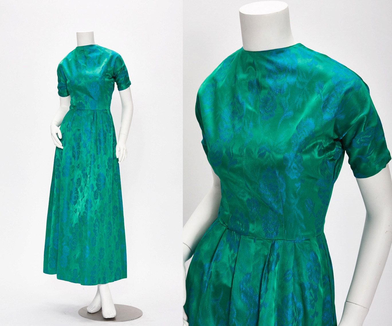 blue and green silk party dress vintage 1950s • Revival Vintage ...